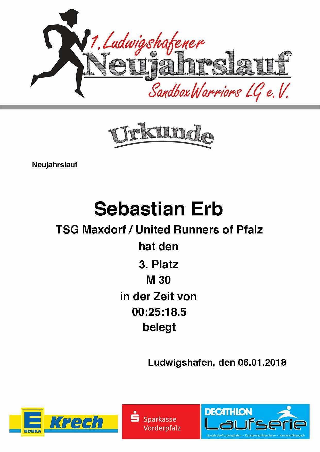 Urkunde 1. Neujahrslauf Ludwigshafen 2018
