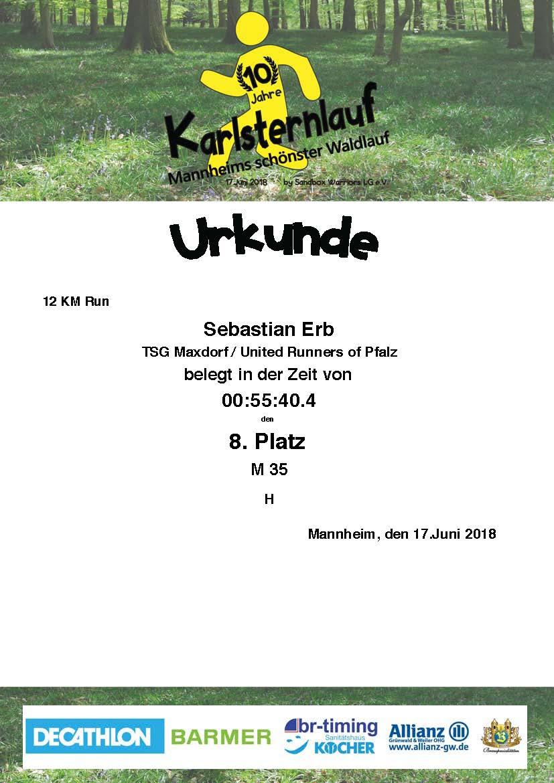 Urkunde Karlsternlauf Mannheim 2018